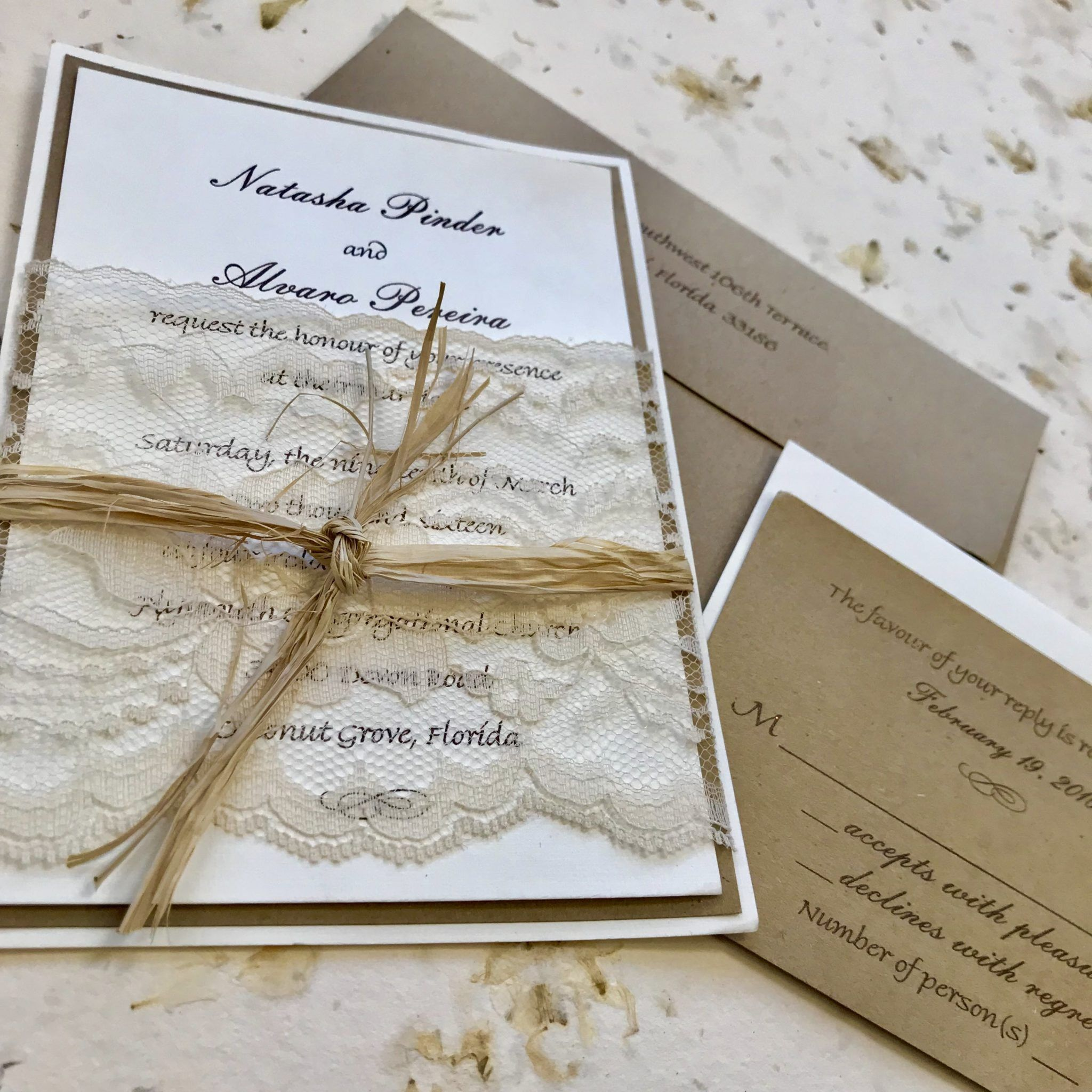 The Vintage Lace Invitation Captures The Understated Elegance Of A