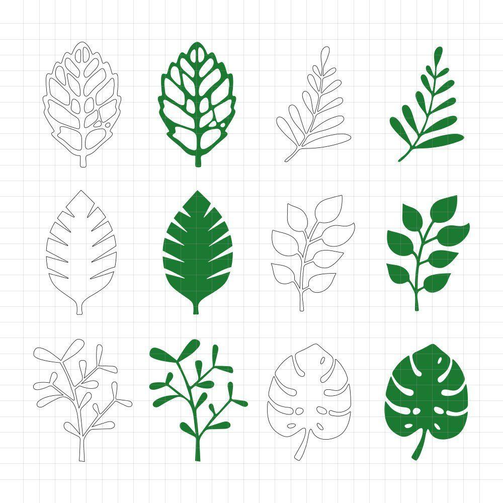 paper flower template  leaf set  pdf and svg files