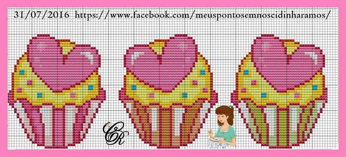 Pin de Chrysa Raftaki en cupcakes   Pinterest   Punto de cruz ...