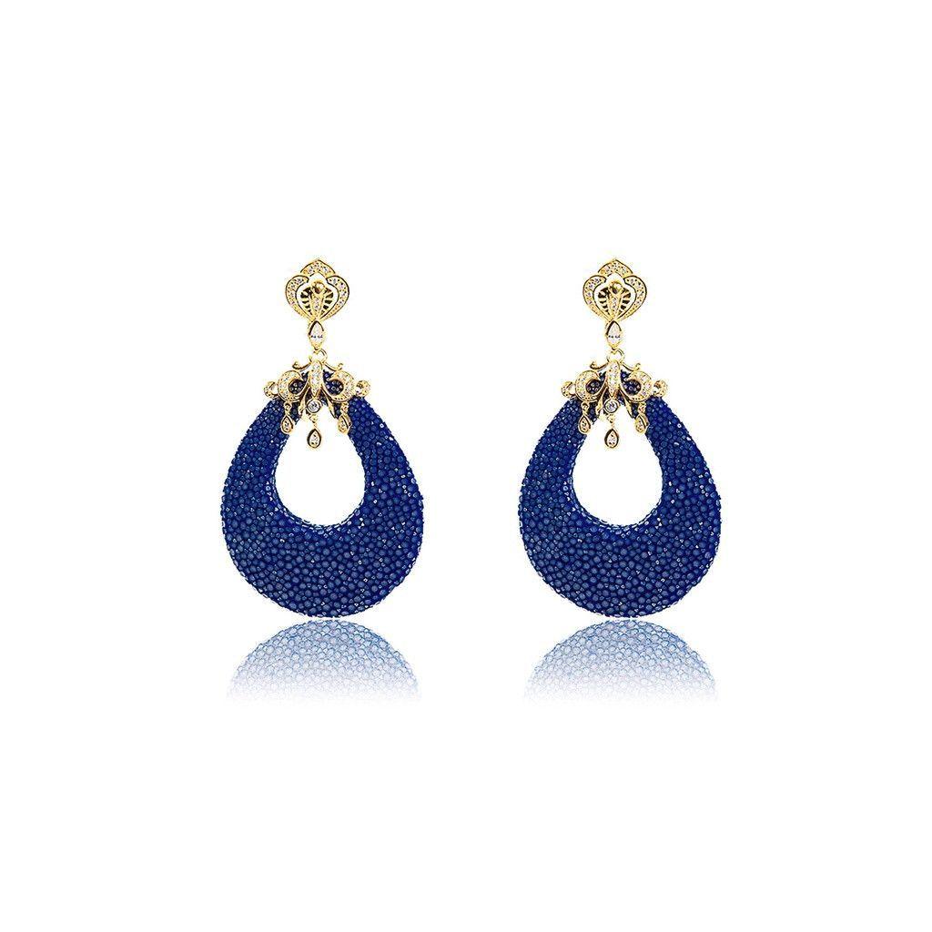 Medusa 22ct Gold Vermeil Stingray Tear Earring Royal Blue