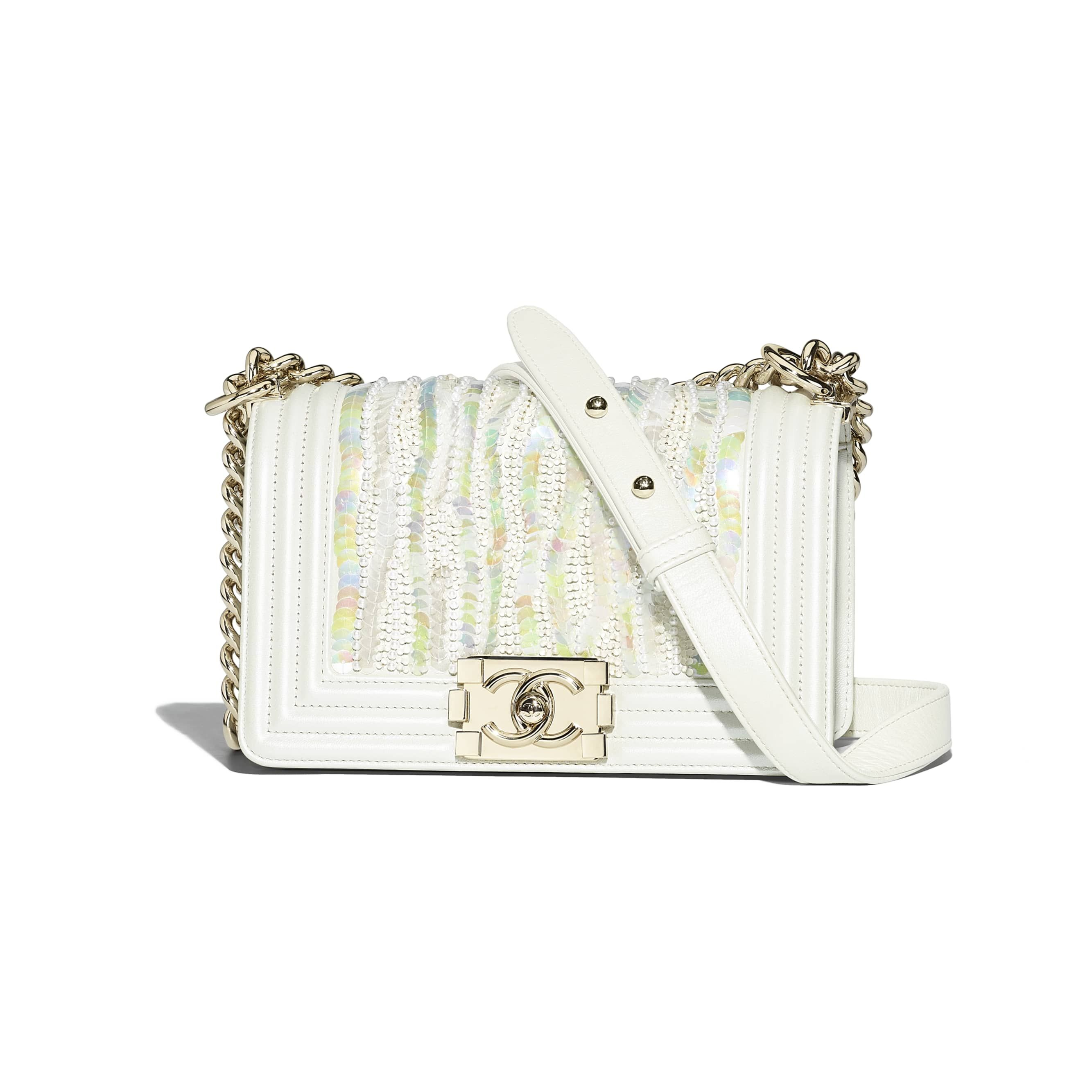 Metallic Embroidered Lambskin, Sequins, Imitation Pearls   Gold-Tone Metal  White Small BOY CHANEL Handbag   CHANEL b35532c9ad