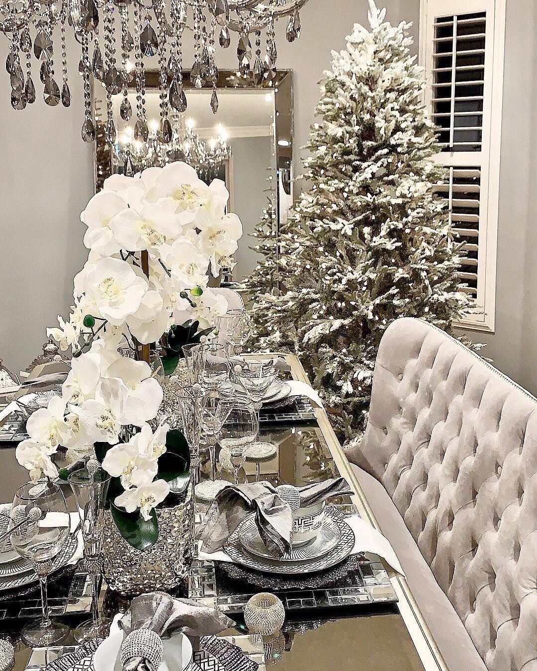 Z Gallerie On Instagram Entry For This Day Is Closed This Fab Design Is Our Inspo For Day 2 Of T White Christmas Decor Beautiful Dining Rooms Holiday Decor