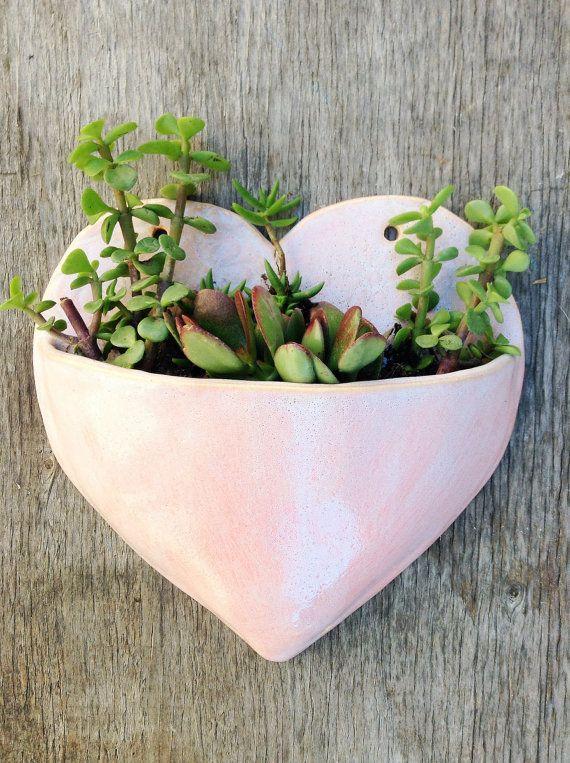 Ceramic Large Pink Heart Planter Wall Hanging By Onenextdoor