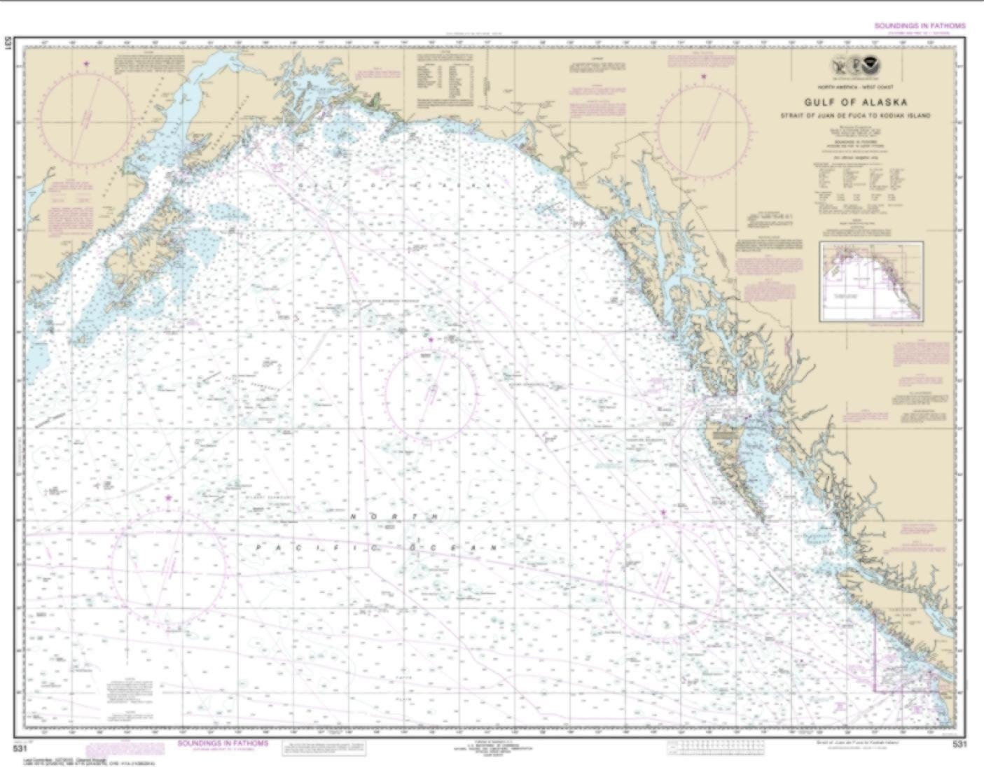Gulf of Alaska Strait of Juan de Fuca to Kodiak Island 531 24 by