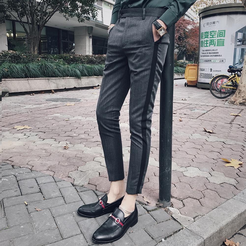 Pin Stripe Men Dress Pants Slim Fit With Side Tape Fashion Designer Dress Ankle Pants Men Social Trousers Pan Slim Fit Dress Pants Mens Pants Fashion Men Dress [ 1000 x 1000 Pixel ]