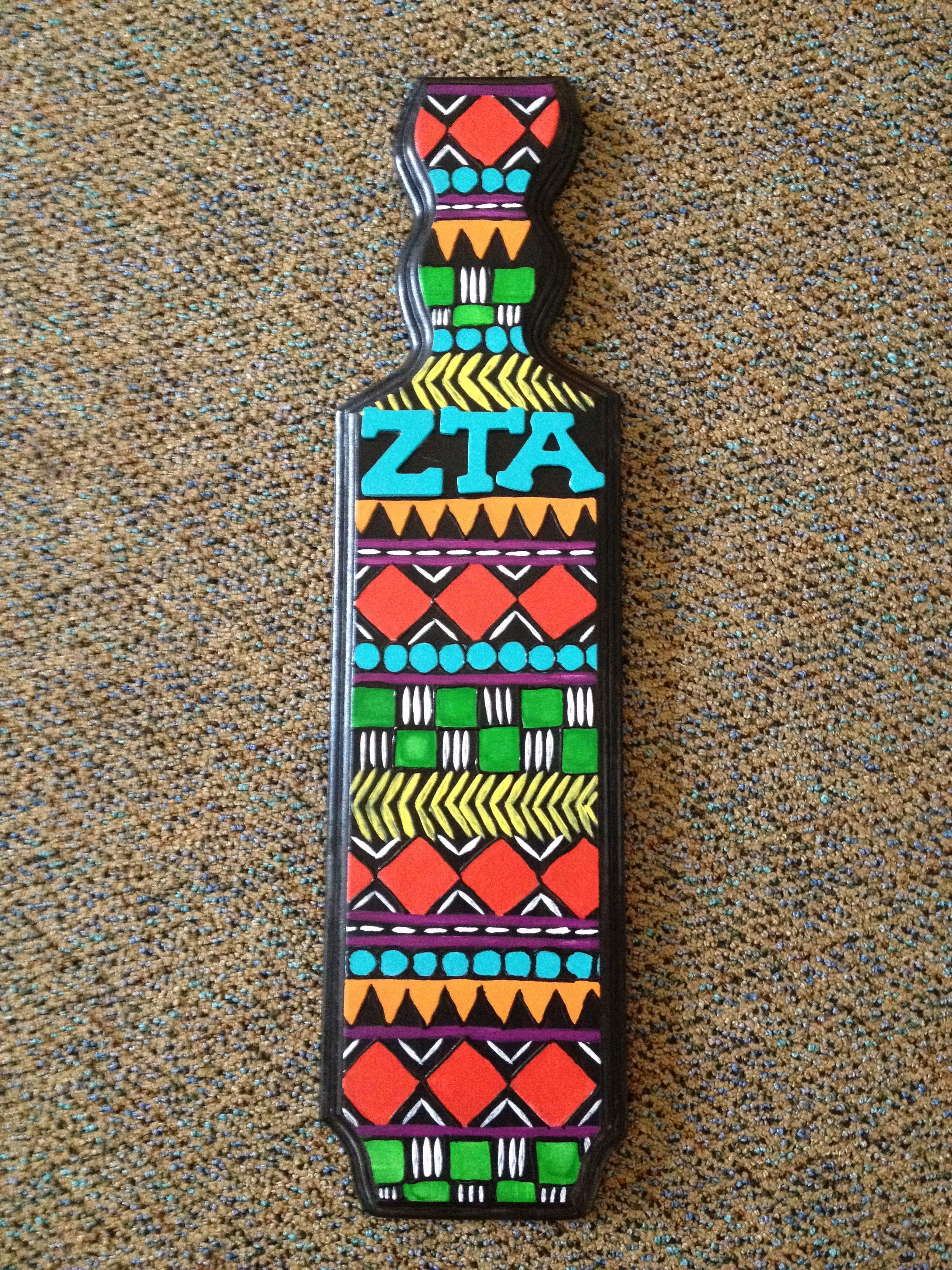 Zta tribal print big little sorority paddle diy crafty for Greek paddle template