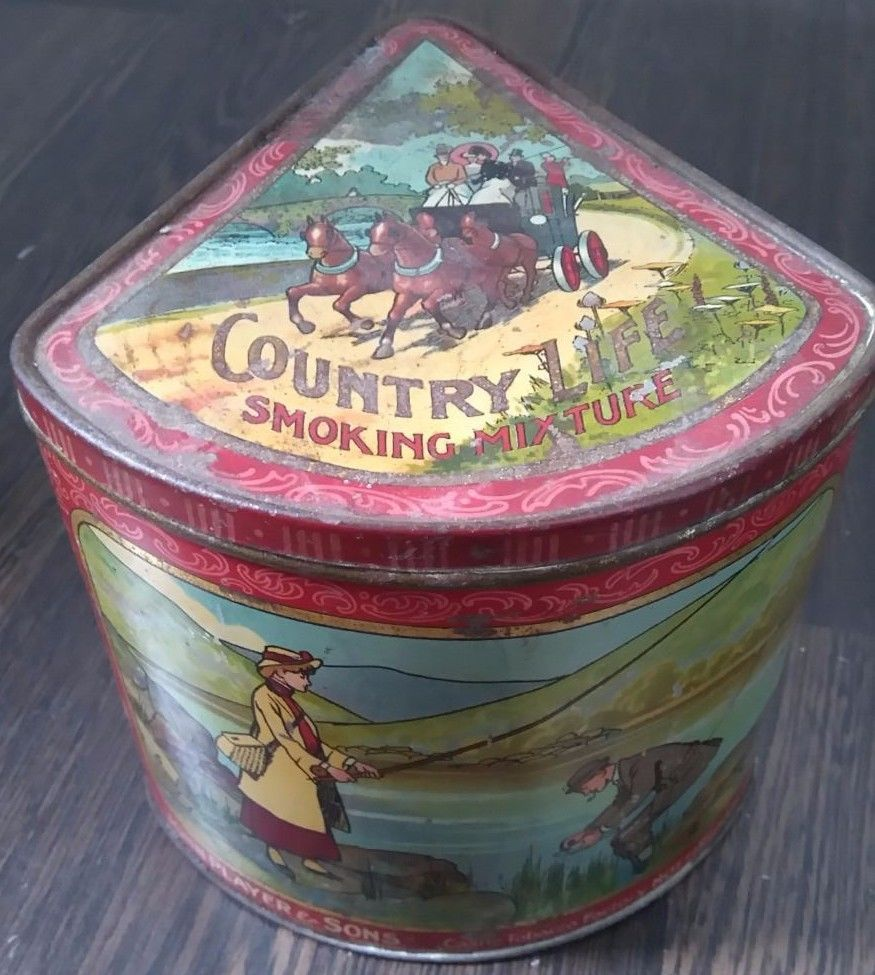 John Player & Sons Country Life segment shaped tobacco tin - early 20th century