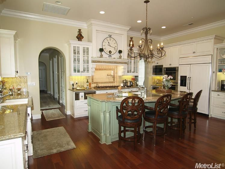 Traditional Kitchen With Manor Collection Drawbridge Wide Plank Flooring, Giallo  Fantasia Granite Countertop