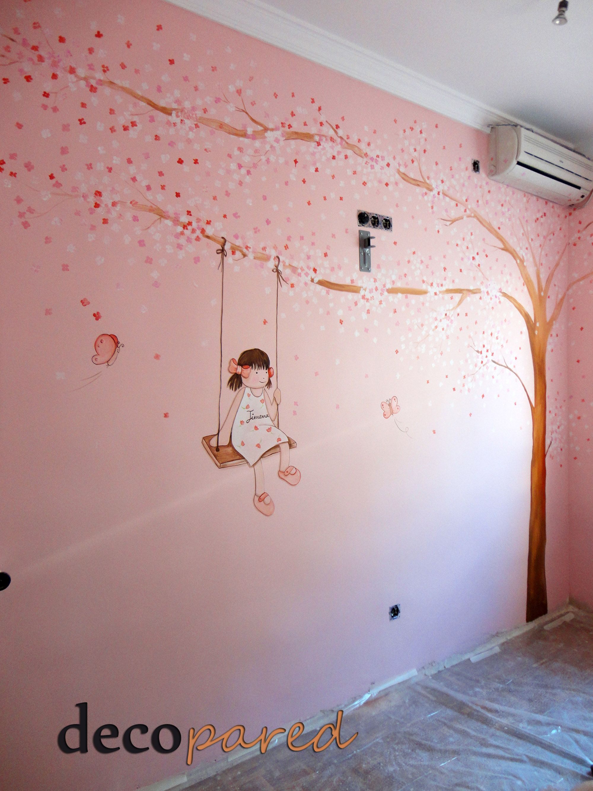 mural infantil arbol con flores para Jimena