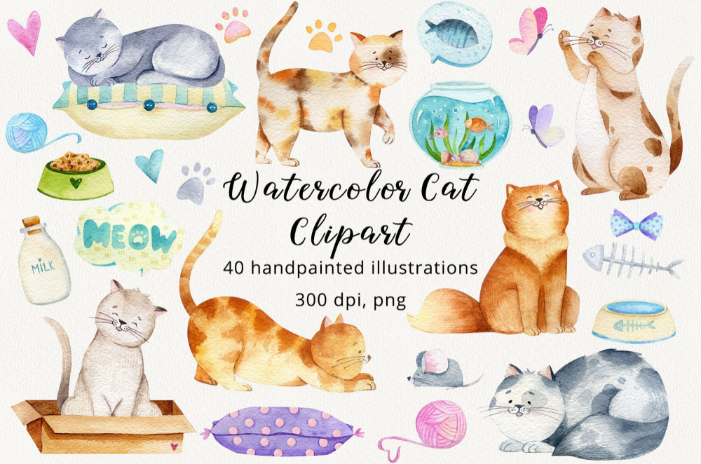 Cat Watercolor Clipart Kittens Clip Art Cute Cats Png Etsy Watercolor Cat Cute Cats And Kittens Cats And Kittens