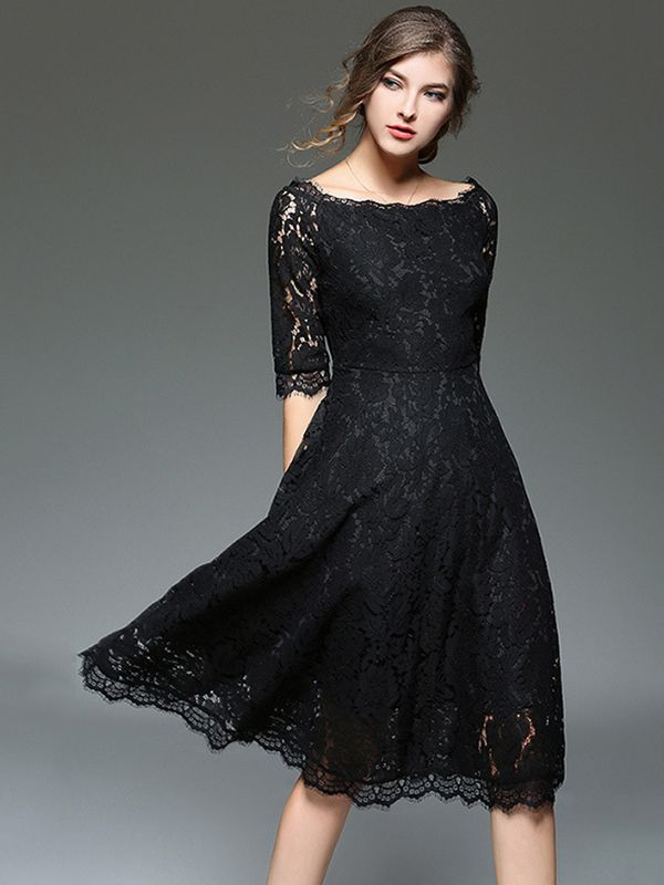 eef72d2ea52 Black Off The Shoulder Cutwork Lace Midi Dress in 2019