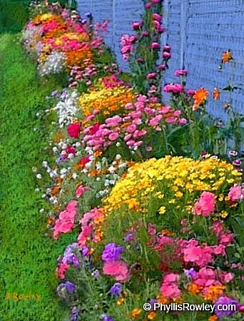 Beautiful Cottage Flower Garden beautiful assorted flower bed.,would look great around our barn