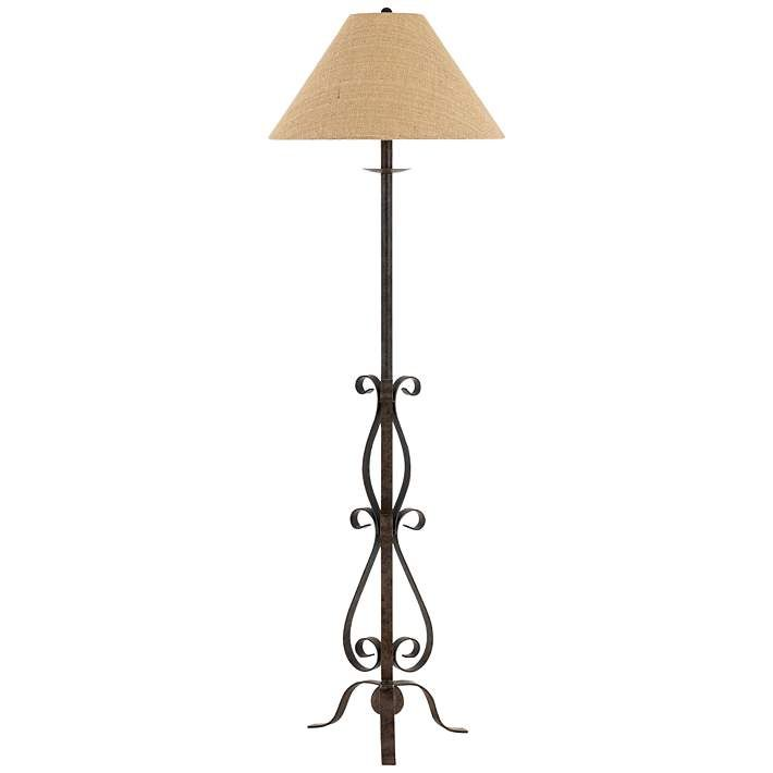 Wrought Iron Floor Lamps Fair Ekalaka Natural Wrought Iron Scroll Floor Lamp  Style # 10T84 Review