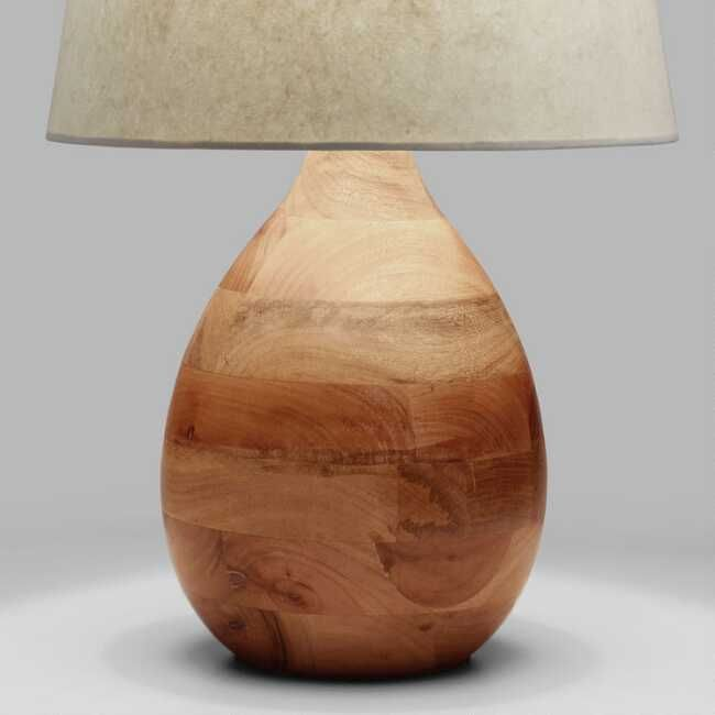 Crafted In India Of Mango Wood With A Smooth Polished Finish Our Teardrop Shaped Table Lamp Adds A Natural Elem Wood Lamp Base Table Lamp Base Table Top Lamps