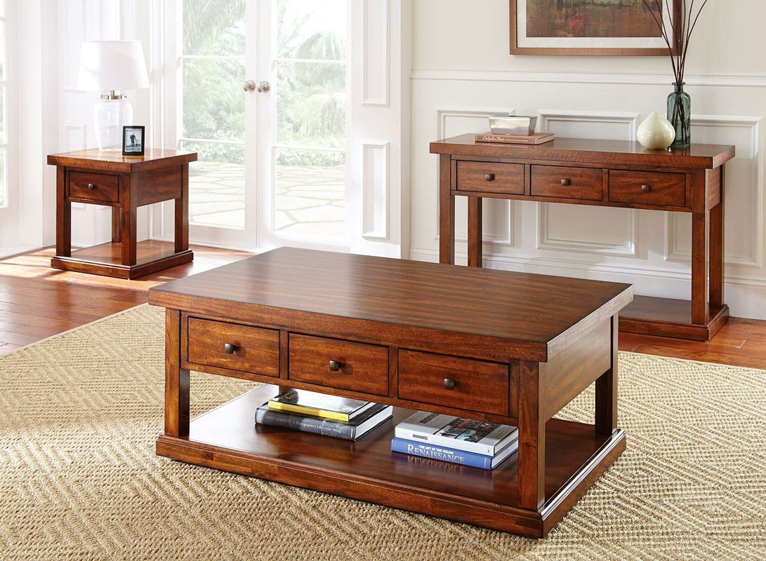 This 3 piece coffee table set is has an on trend modern rustic