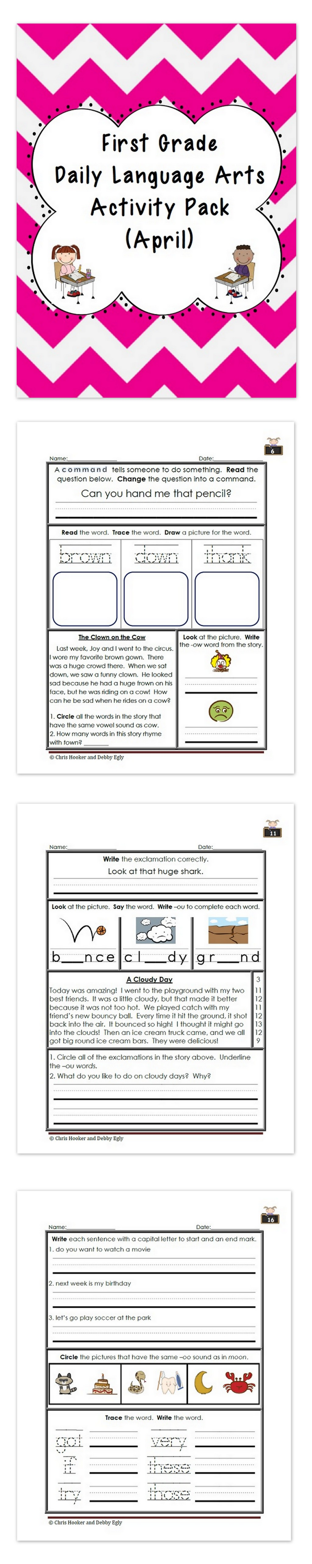 1st Grade Language Arts Worksheet Pack April Common
