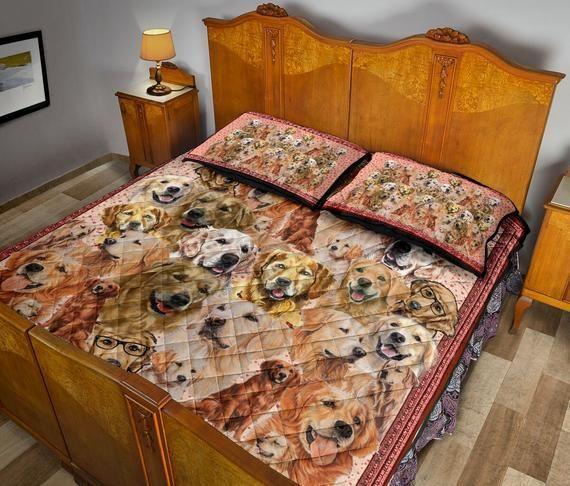 Golden Retriever Bedding Set - Throwing Cute Golden Retriever Bed Sheet - Blanket Cover - Poodle Pil