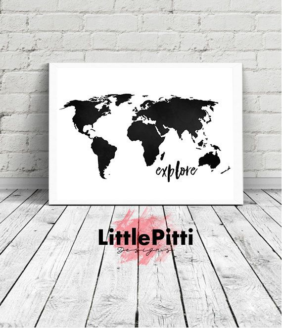 Explore world map print travel print world map poster black white explore world map print travel print world map poster black white world map wall art explore the world explore wall art 18x24 11x14 gumiabroncs Choice Image