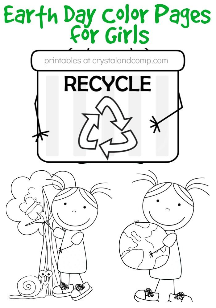 Kid Color Pages: Earth Day for Girls | Earth day | Pinterest | La ...