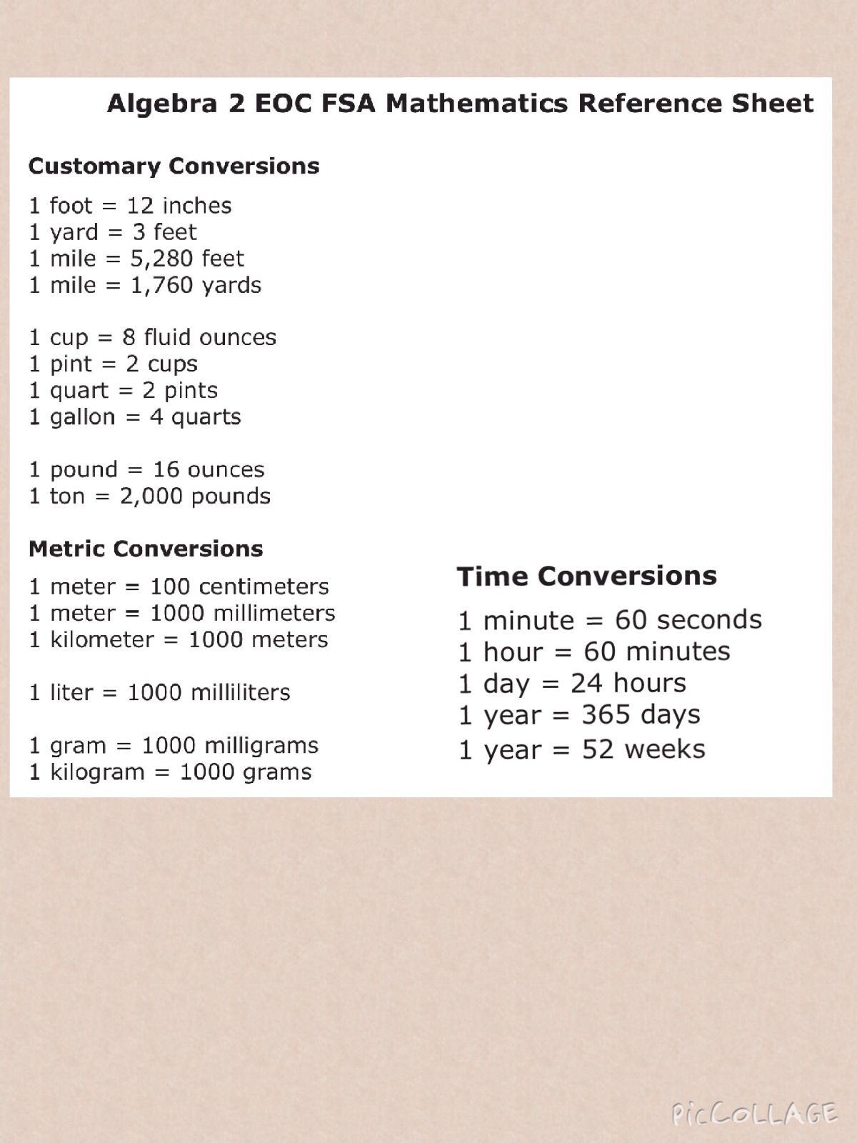 Eoc Fsa Alg2 Math Ref Sheet