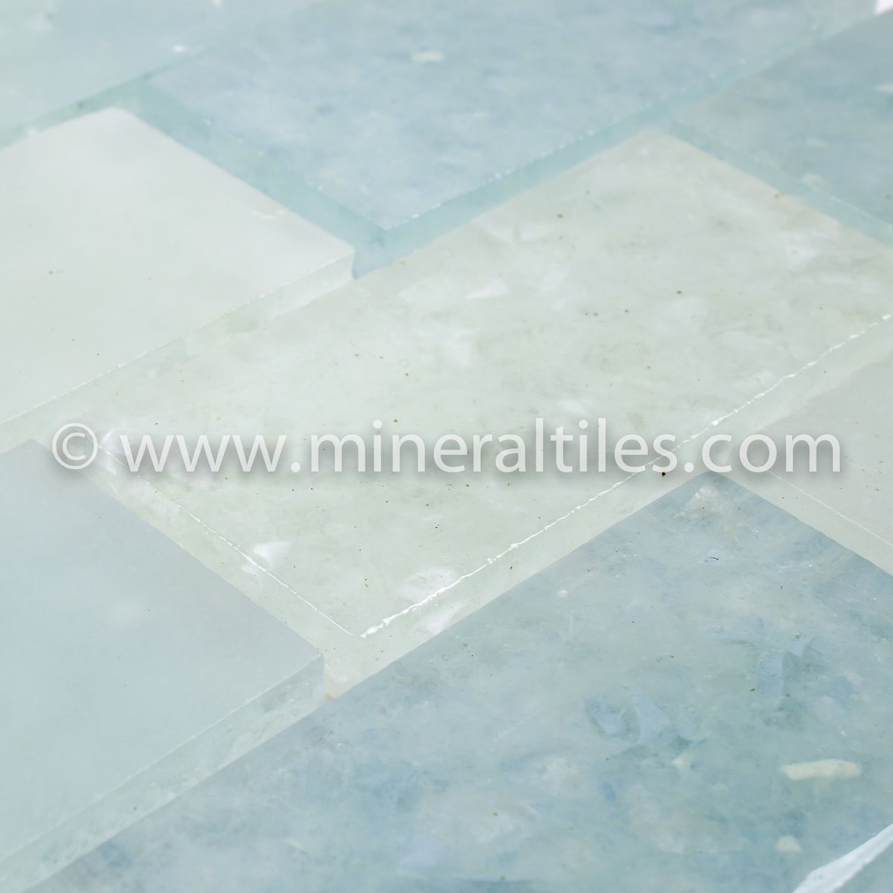 Mineral Tiles - Fluid Recycled Glass Tile Bahamas Subway Blend ...