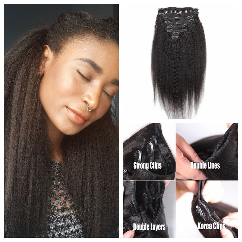 Corase Yaki Clip In Human Hair Extensions 7a Virgin Brazilian Light