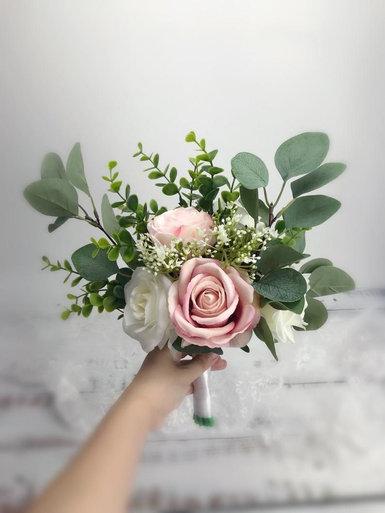 Wedding bouquet ,dusty rose,blush pink white cream 、rose peonies eucalyptus bouquet ,boho bouquets , bridal bridesmaids bouquet #bridesmaidbouquets Wedding bouquet blush pink white cream rose peonies | Etsy #bridesmaidbouquets