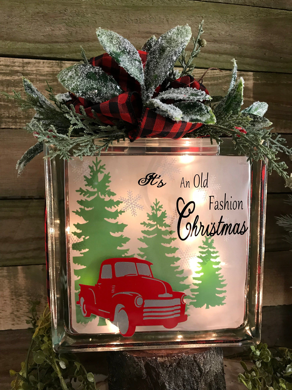 Old fashion Christmas Lighted glass block holiday lights