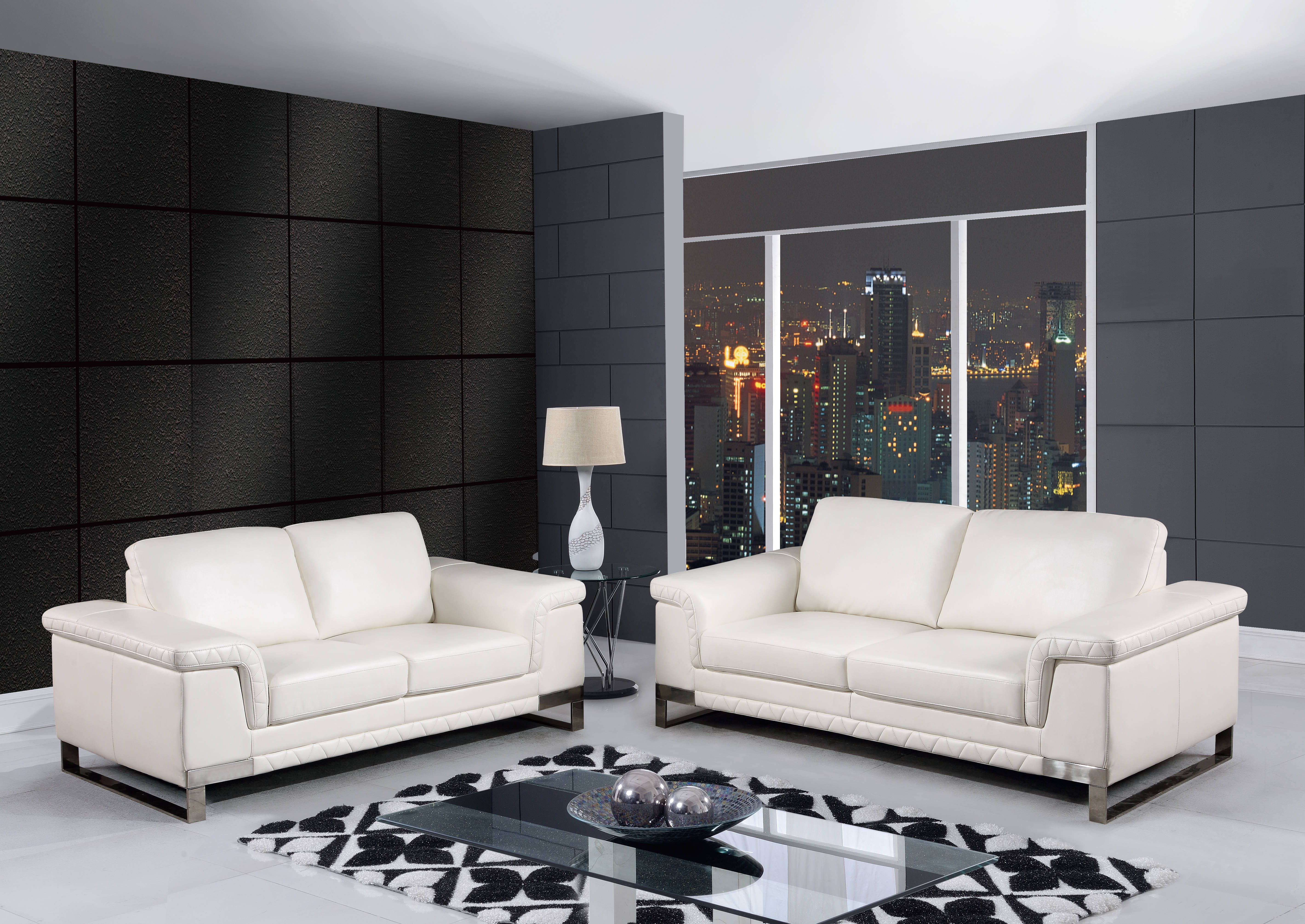 Blanche White Leather Gel Living Room Set