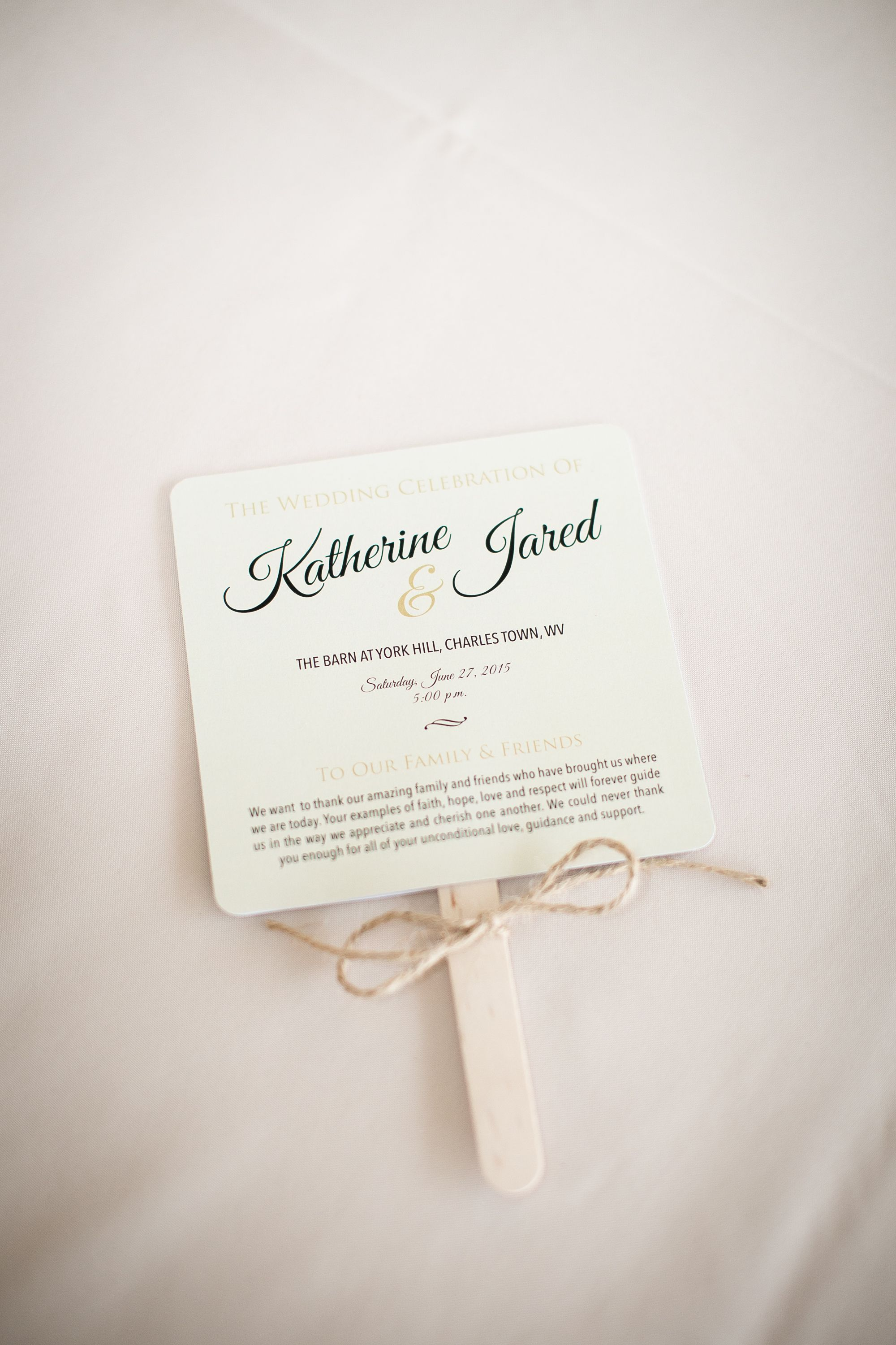 Fan Wedding Program With Twine Http Www Naturalblissphoto Com