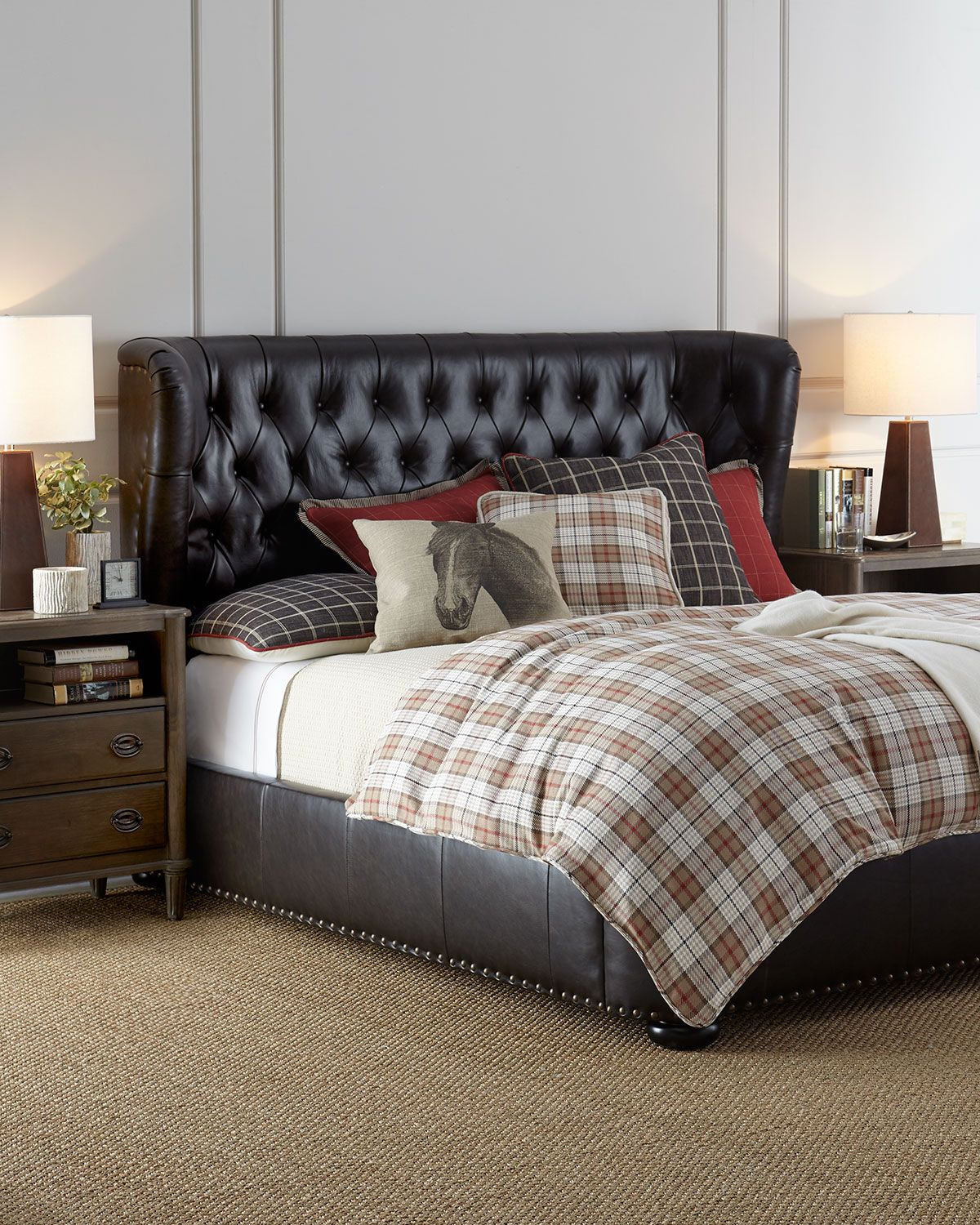 Gables Tufted Leather King Bed King beds, Leather bed