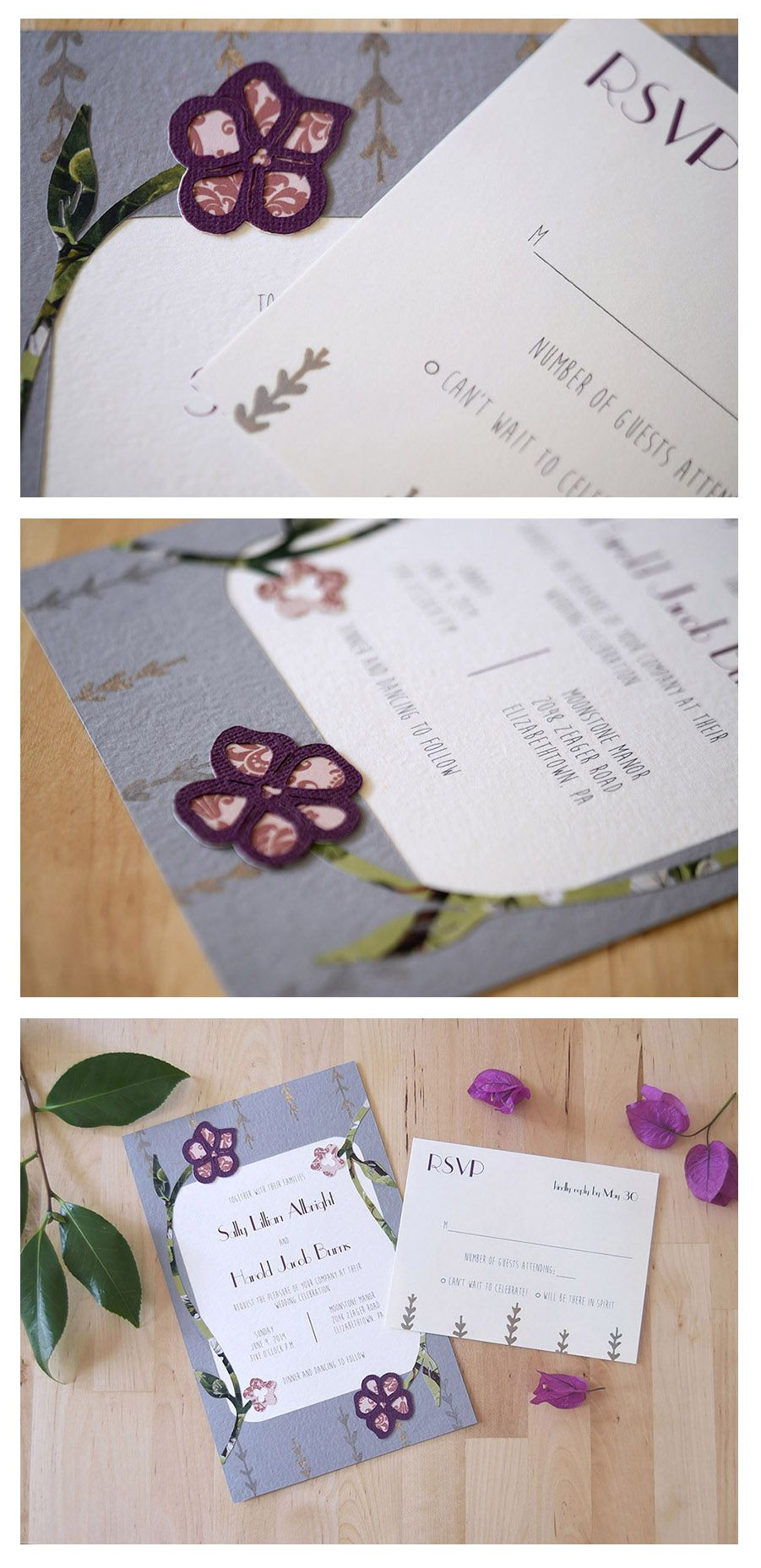 Curling Violets Invitation Set From Pip S Paperie Perfect For