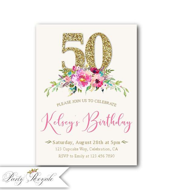 Boho 50th Birthday Invitation Printed