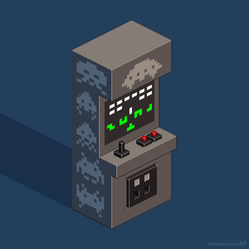 Space Invaders Arcade Cabinet Isometric Pixel Art