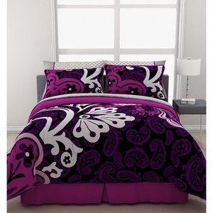 Purple Teen Bedding | Purple Black Comforter Sheets Sham Skirt Set Dorm Teen  Kids Girls .