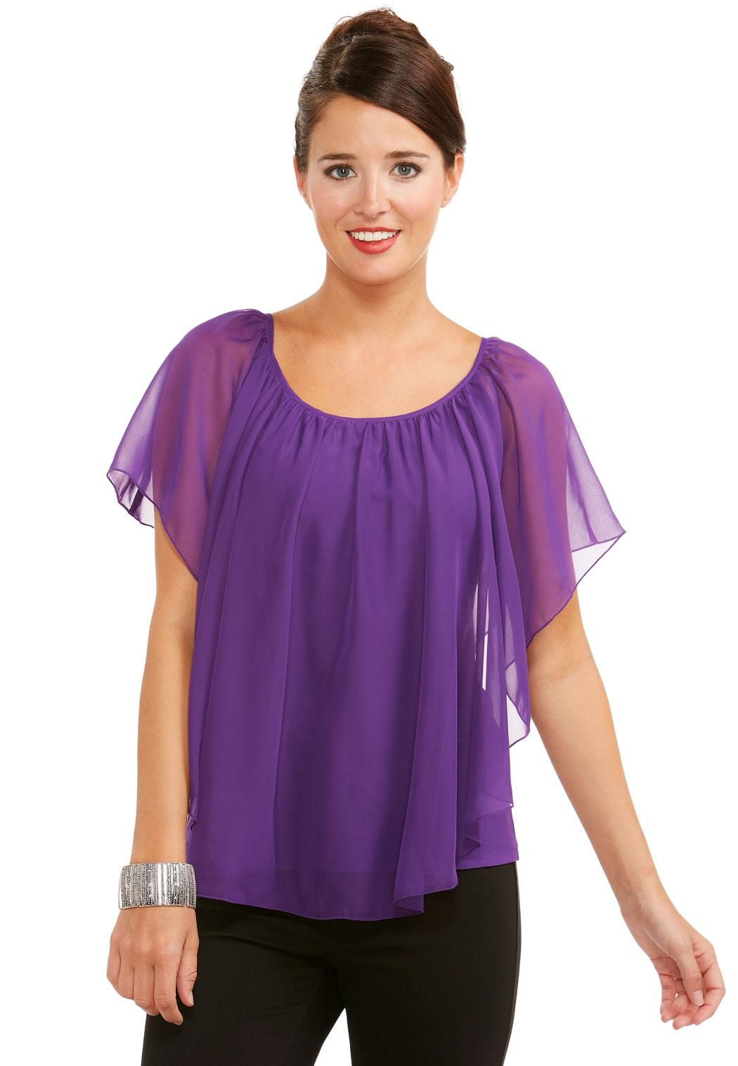 9362681bab5 Sheer Layered Capelet Top-Plus Shirts   Blouses Cato Fashions ...