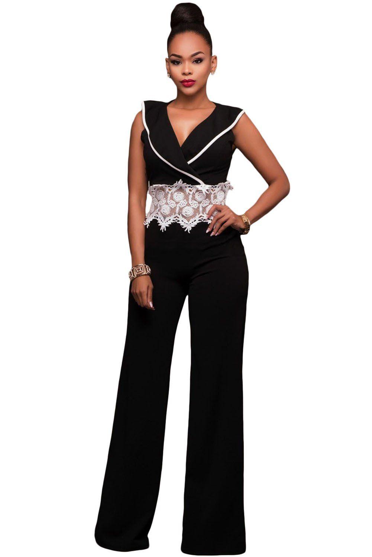 1be4f8caff Contrast Lace Waist Insert Black Wide Leg Jumpsuit