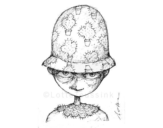 Original quirky aceo funny cactus policeman whimsical black white drawing art trading card illustration fantasy goth art pop surrealism