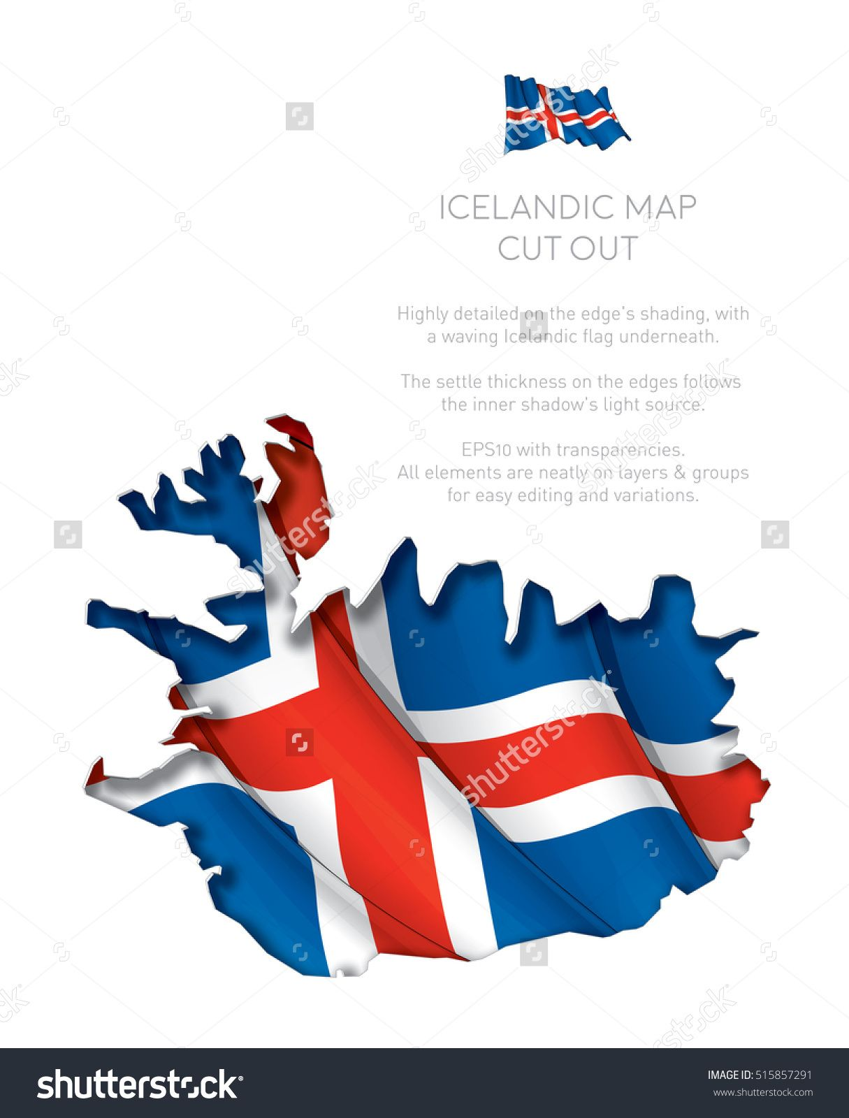 Vector Illustration of a cut out Map of Iceland with a waving ...