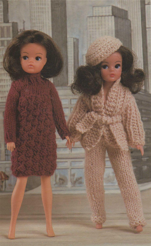 Dolls Clothes PDF Knitting Pattern : 11 - 12 inch dolly . Sindy Doll ...