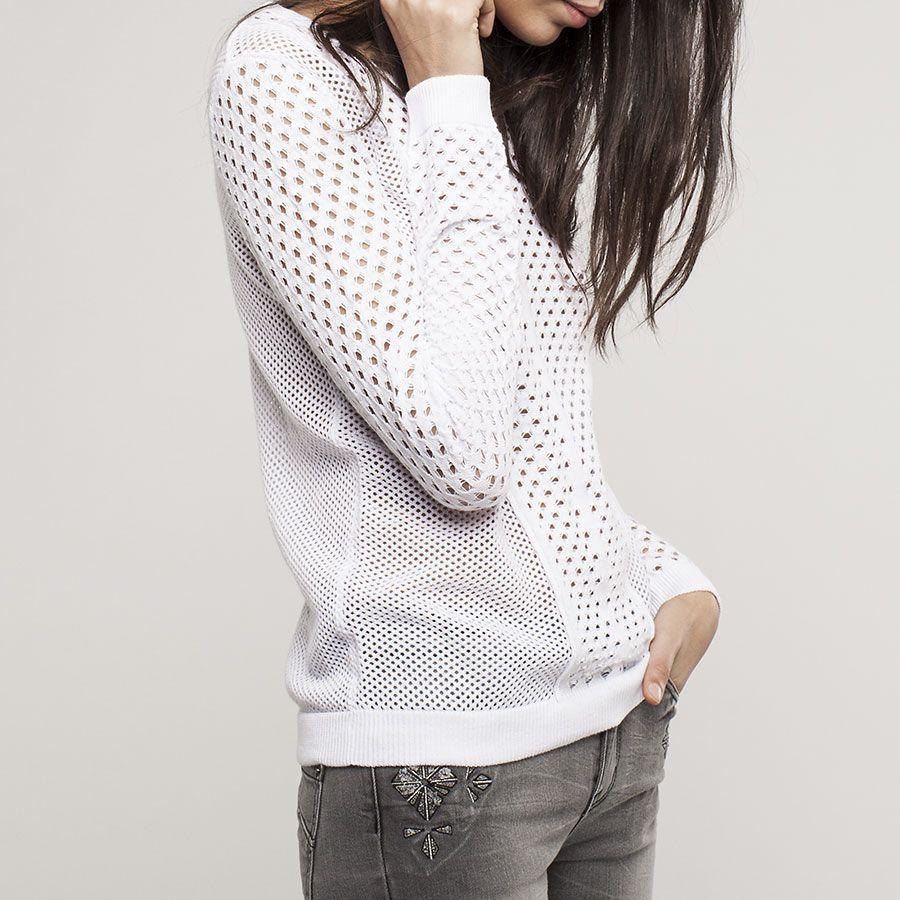 pull blanc ajour ikks pull femme couture tricot et. Black Bedroom Furniture Sets. Home Design Ideas