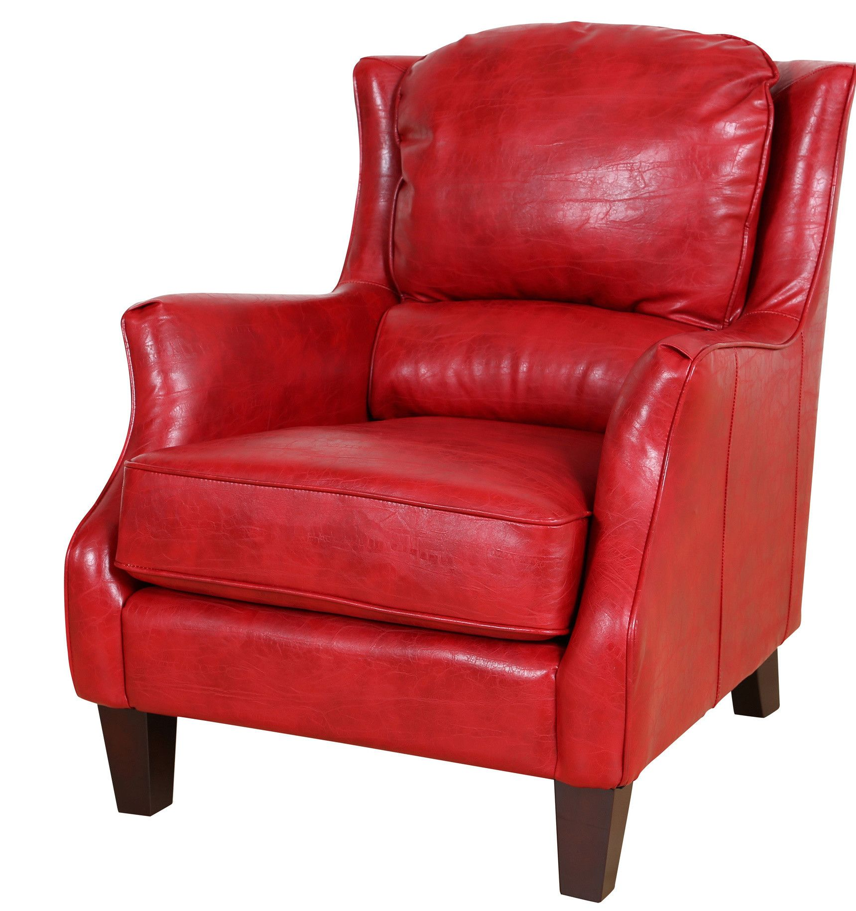 Garnet Bonded Leather Lounge Chair Red Accent Chair Leather