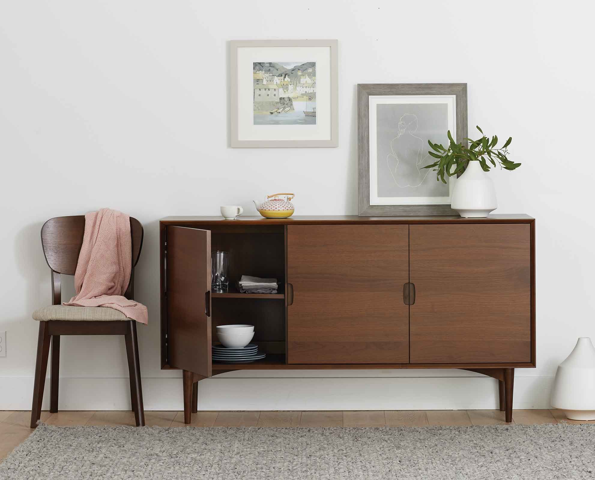 Scandinavian Designs Juneau Sideboard Has A Light Mid Century Look With Minimalist Living Room Decor Scandinavian Design Living Room Minimalist Living Room