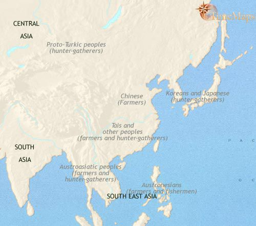 history map of East Asia China Korea Japan 2500BC  maps