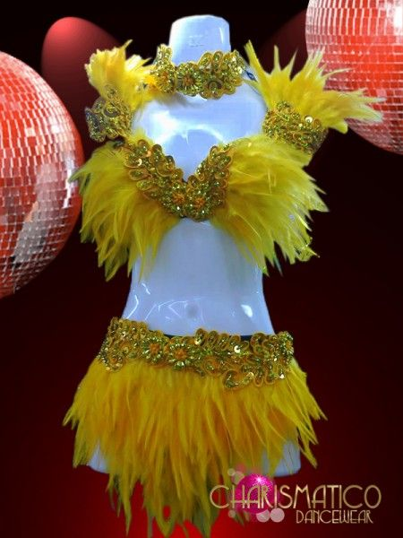 8df65336450a CHARISMATICO Floral Sequin And Bead Embellished Yellow Feather Bra ...