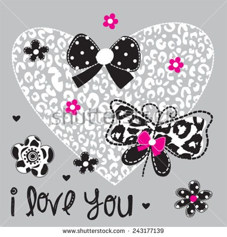 Download beautiful butterfly with heart love card vector ...