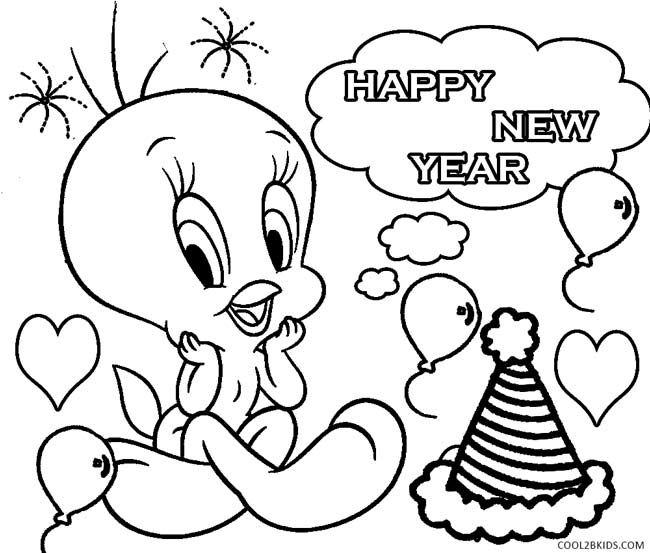 Printable New Years Coloring Pages For Kids | Cool2bKids | baby ...