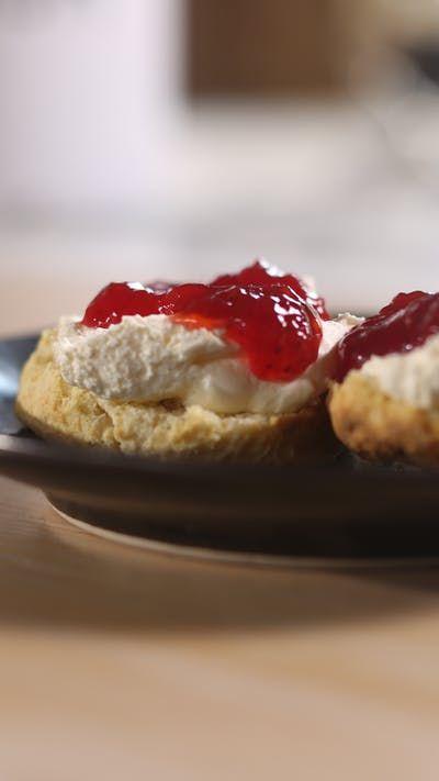 Buttermilk Scones With Jam Clotted Cream Recipe Cream Recipes Buttermilk Scone Recipe Baking