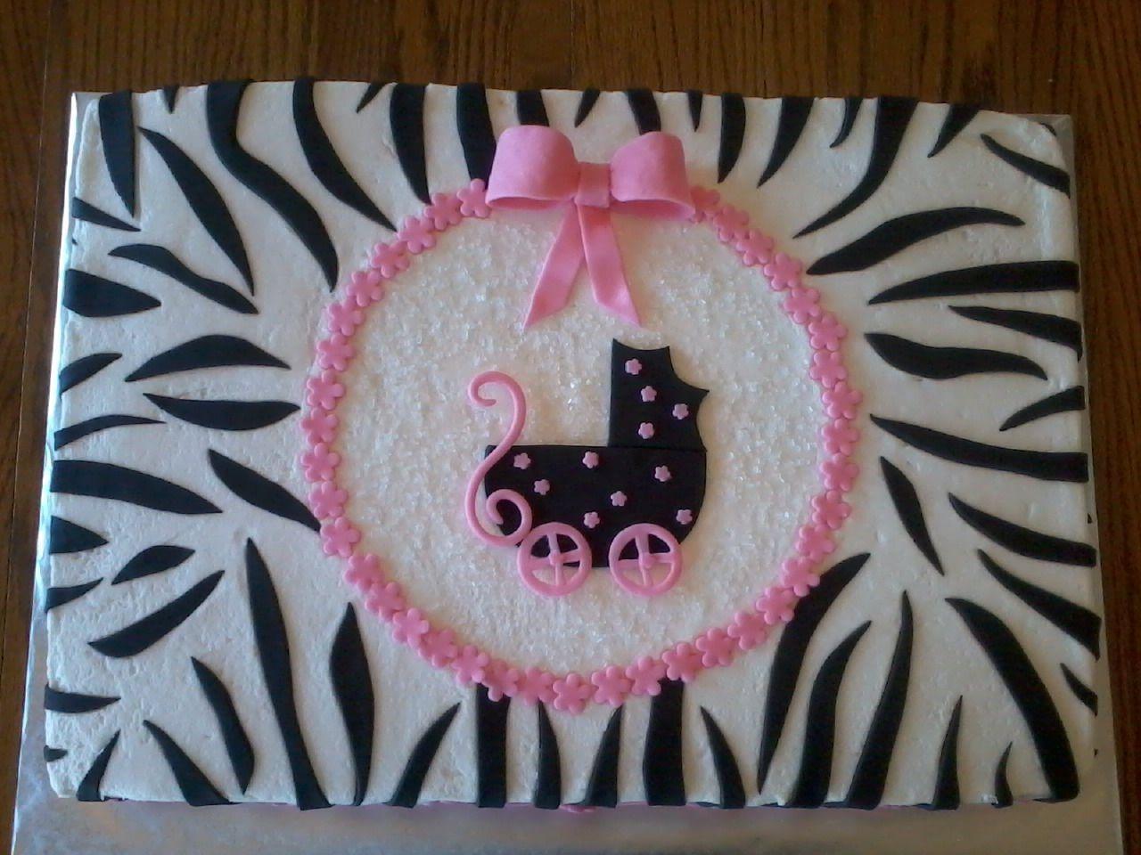 Baby Shower Cakes With Zebra Stripes ~ Zebra baby shower half sheet cake with a fondant stroller zebra