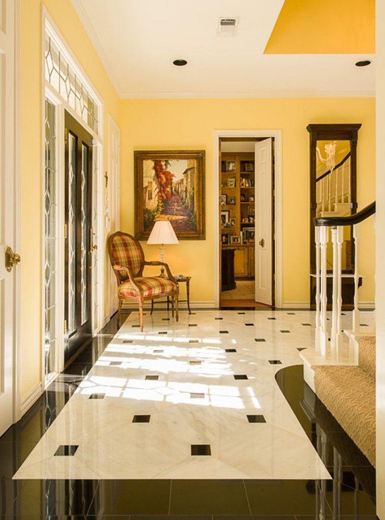 Elegant Foyer Tiles : Decoration yellow wall color with elegant marble tile